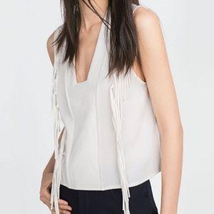 NWT Zara Fringe Top